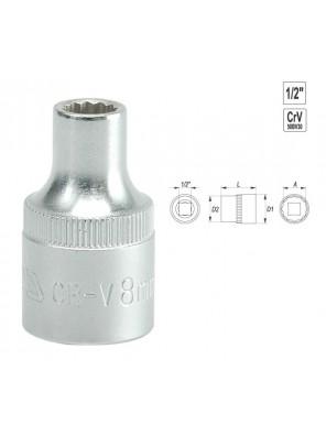 "YATO BI-Hexagonal Socket 8mm 1/2"" 12PT CV  Regular YT1270"