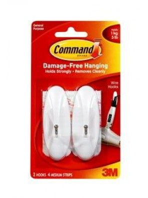 COMMAND Medium Wire Hooks, Hold Up to 1kg CODE:17068