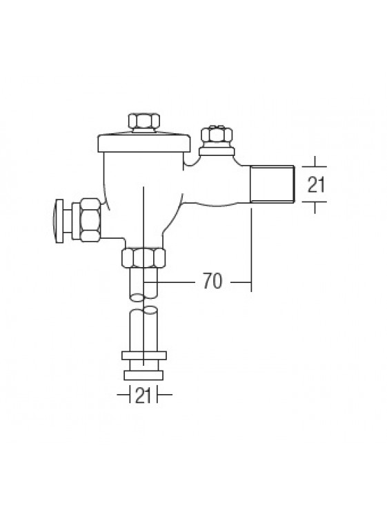 AIMER  Urinal Flush Valve c/w Rubber Spud & Pipe AMFV-500