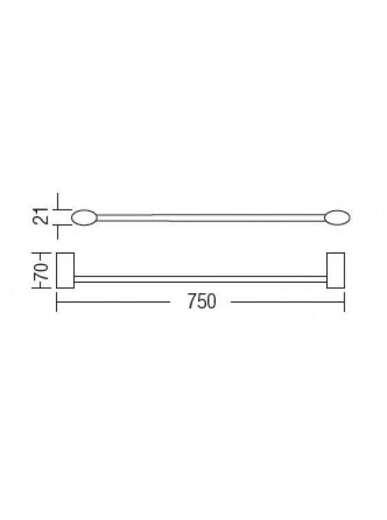 AIMER  Brass Chrome Single Towel Rail 750mm AMBA-7503/750