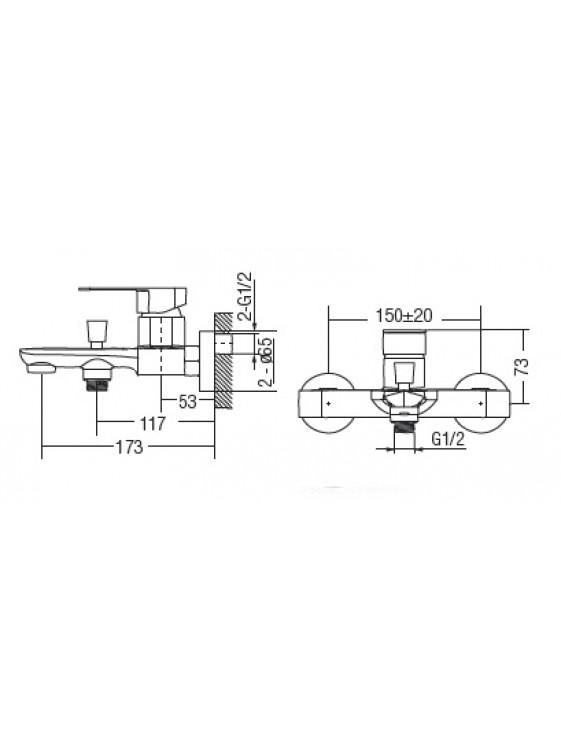 AIMER Brass Chrome Exposed Bath Shower Mixer AMMX-26316