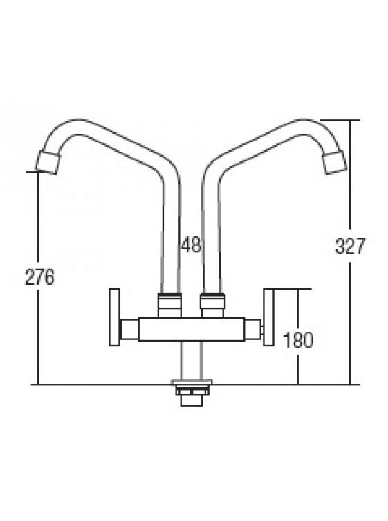 AIMER Brass Chrome 2 Spout Kitchen Pillar Sink Tap AMFC-250