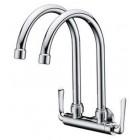 AIMER Brass C.Double Spout Kitchen Wall Sink Tap AMFC-1559