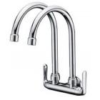 AIMER Brass C/ Double Spout Kitchen Wall Sink Tap AMFC-1759