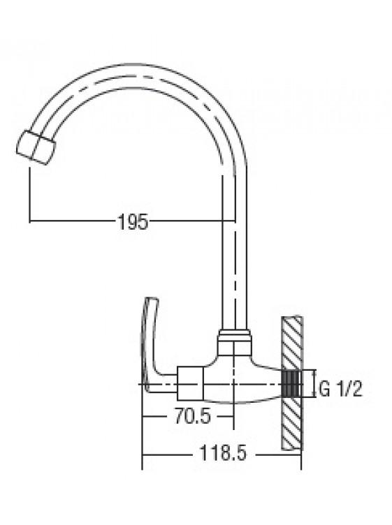AIMER  Brass Satin Nickel Kitchen Wall Sink Tap AMFC-1957C