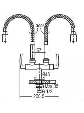 AIMER  Double Flexible Hose Pillar Sink Tap AMFC-1960H