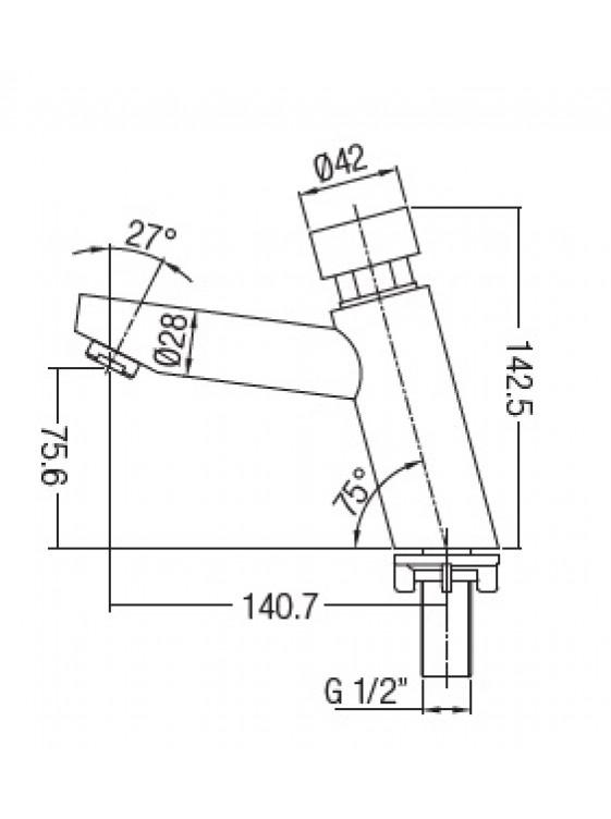 AIMER Brass Chrome Self Closing Basin Tap AMSC-78