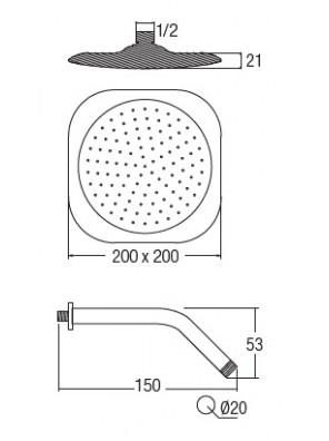 "AIMER  Chrome Square Rain Shower with Arm (8""x8"") AMSH-6408"
