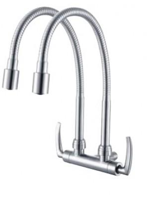 AIMER B/Satin  Double Flexible Hose Wall Sink Tap AMFC-1959H