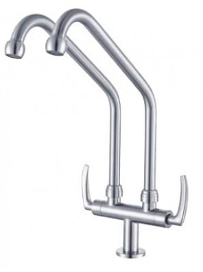 AIMER B/Satin Nickel Double Spout Pillar Sink Tap AMFC-1960A