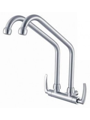 AIMER B/Satin Nickel Double Spout Wall Sink Tap AMFC-1959A