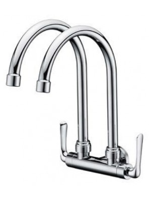 AIMER Brass C.Double Spout Kitchen Wall Sink Tap AMFC-1559