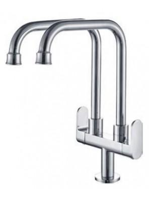 AIMER Brass Chrome 2 Spout Kitchen Pillar Sink Tap AMFC-5012