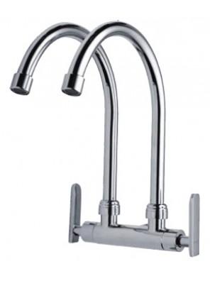 AIMER Brass Chrome 2 Spout Kitchen Wall Sink Tap AMFC-3659C