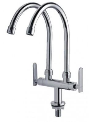 AIMER Brass Chrome 2Spout Kitchen Pillar Sink Tap AMFC-3660C