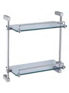 AIMER Brass Chrome Double Glass Shelf AMBA-31800