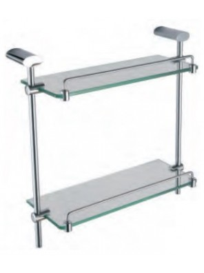 AIMER Brass Chrome Double Glass Shelf AMBA-7500