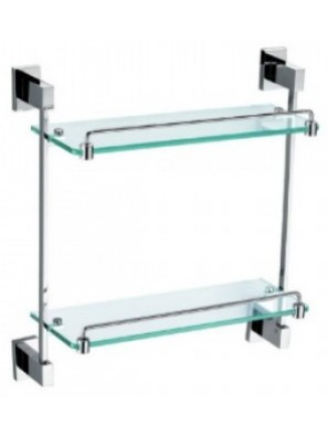AIMER Brass Chrome Double Glass Shelf Size:392mm AMBA-83800