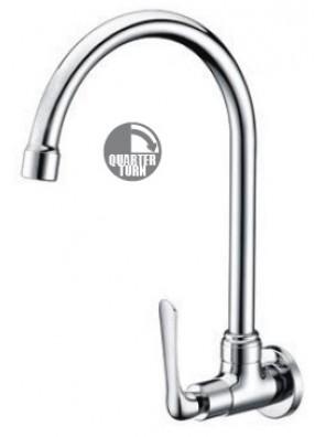AIMER Brass Chrome Kitchen Wall Sink Tap AMFC-1557
