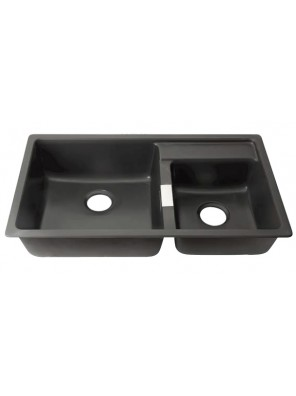 AIMER Granite Double Bowl Kitchen Sink (Black)  AMG-8549 B