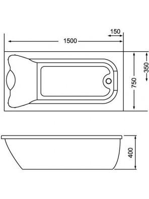 ORIN 2055 Acrylic Long Bath 1500x750x400mm