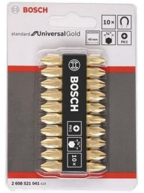 BOSCH 10pcs D/End Bit Set Philip#2x45mm Gold(2608521041)