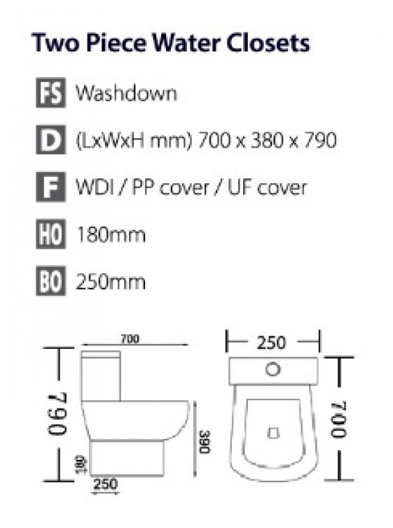 BARENO Aroma 3/6L C/Coupled Washdown WC  HO 180mm W21801