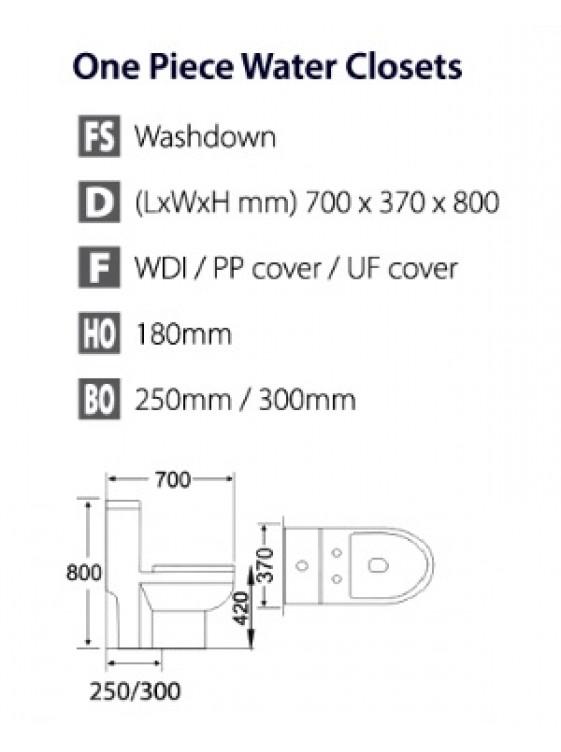BARENO IBIZY 3/6L One Piece Washdown WC BO 300mm W15802