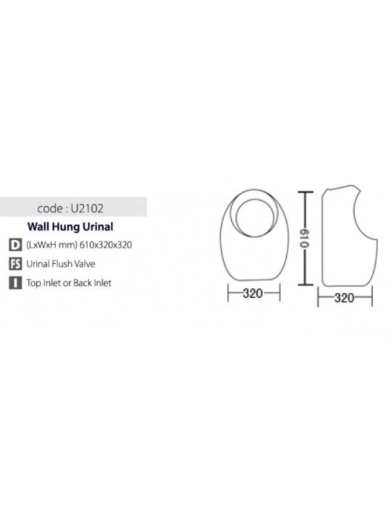 BARENO Urinal Bowl Size:610x320x320mm (White) U2102