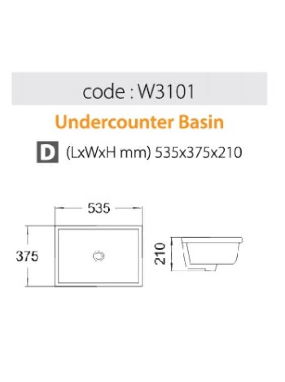 BARENO Under Counter Basin Size: 535x375x210mm (White) W3101
