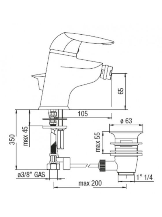 BARENO Gulliver Single Lever Bidet Mixer-GA26119/1 CR