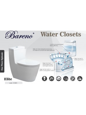 BARENO Elite 3/6L One Piece Siphonic WC BO300mm S13001