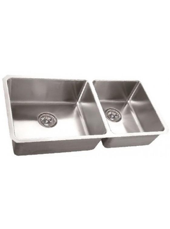 BARENO SS 304 2 Bowl Undermount Sink (1.5mmthk) UM3054
