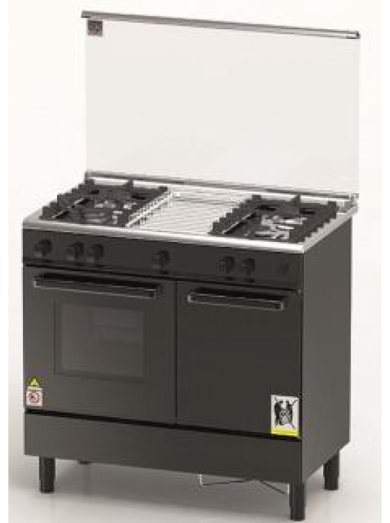 ZANUSSI  90cm Free Standing Gas Hob Cook & Oven - ZCG940KBLK