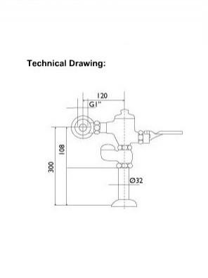 DOE  Manual Foot Pedal C. P Brass W.C Flush Valve  DE600FP