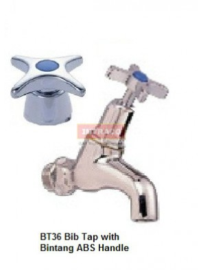 "DOE BT36 - 1/2"" BOOSTER BIB TAP BRIGHT ZINC CHROME PLATED WITH BINTANG HANDLE-DOE"