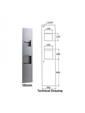 DOE S/S Paper Towel Dispenser Receptacle & Hand Dryer SB5001