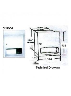 DOE S/S Paper Towel Dispenser-Recessed; 438 X 33mm SB5008