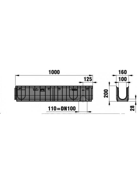 HAURATON RecyfixPro100/010 Fibretec Sl. GratingC250x1M-47060