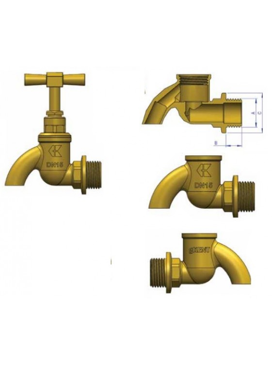 "G-Kent Brass Bib Tap 15mm (1/2"")"