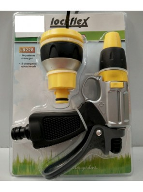 LOCKFLEX 10 Patterns Spray Gun 2 Changeable S.Heads L8228