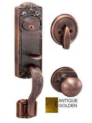 GERE Tubular Solid Brass Handleset M2-Antique Golden G29001