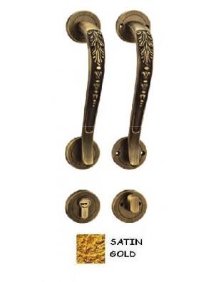 GERE Zinc Alloy Tubular Handleset Ent M3M-Satin Gold Gd3092
