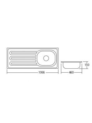 HEAD S/S Kitchen Sink With 100mm Waste HDKS-106465A