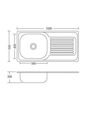 HEAD S/S Kitchen Sink With 100mm waste HDKS-10050