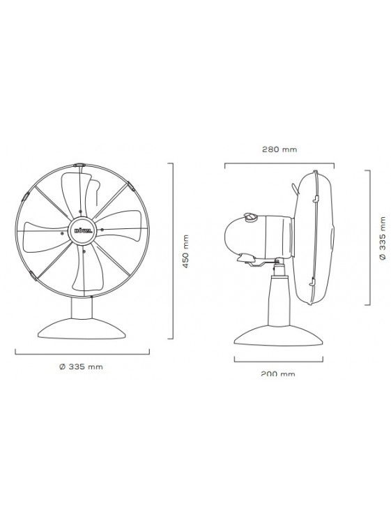 "HOUM 12"" Metal Desk Fan (4 Metal Blades,3speed) R12 WHITE"