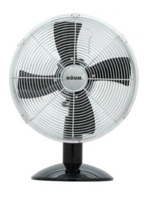 "HOUM 12"" Metal Desk Fan (4 Metal Blades,3speed) R12 BLACK"