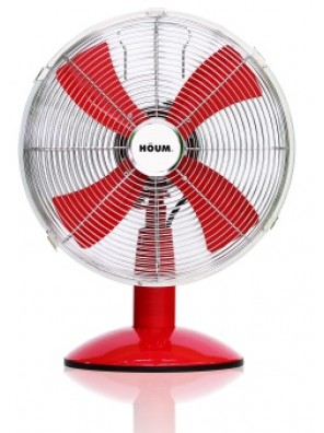 "HOUM 12"" Metal Desk Fan (4 Metal Blades,3speed) R12 RED"