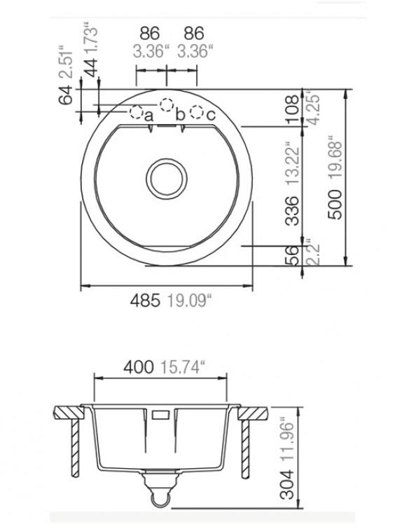 BARENO MONO R-100 (STONE) 1 Bowl Cristadur Granite Sink