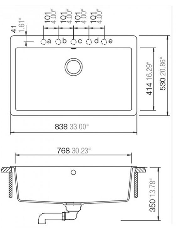 BARENO MONTANO N-100XL (BRONZE) 1Bowl Cristadur Granite Sink
